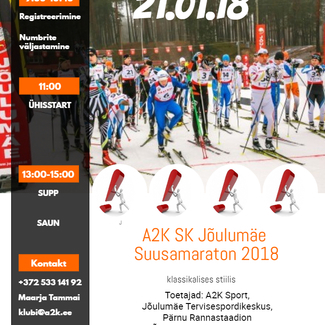 21. jaanuaril toimub Jõulumäe Tervisespordikeskuses A2K Jõulumäe maraton!