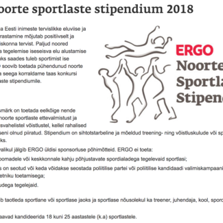 Kandideeri - ERGO noorte sportlaste stipendium 2018