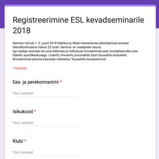 ESL kevadseminari kava ja registreerumine, 1.-3.06.2018