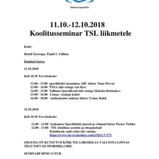 Tallinna Spordiliit kutsub osalema seminaril 11-12.10
