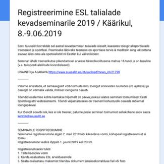 Algas ESL talialade kevadseminarile registreerumine